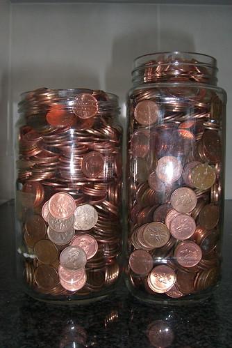 Two jars of pennies
