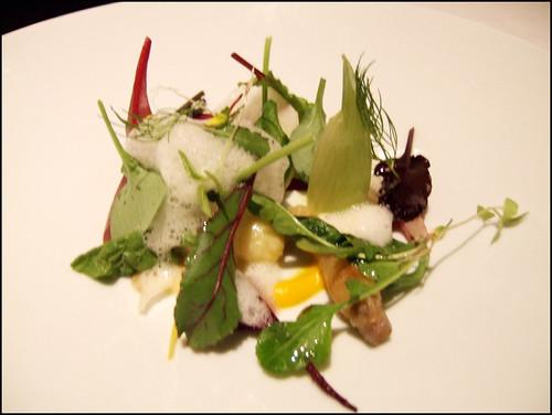 Manresa (Los Gatos) - Potato Dumplings & Vegetables from the garden / Vegetable Juices