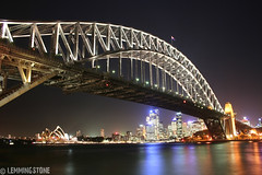 The Coathanger (lemmingstone) Tags: longexposure bridge urban water architecture night canon lights harbour sydney australia icon nsw newsouthwales coathanger cbd operahouse afterdark sydneyharbourbridge greatphoto bluespoint duracellpowerpix