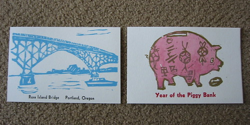 Two postcards by Carye Bye of Red Bat Press