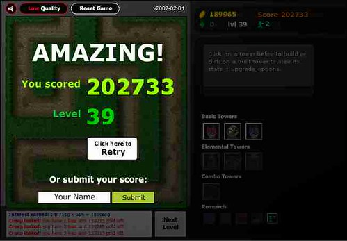 Flash Element TD high score