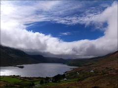 Lough Nafooey, Western Ireland. (RuthannOC) Tags: trees ireland mountain lake mountains tree green beautiful lumix evening scenery lough sheep valley fields finney ruthann maam supershot panasonic nafooey impressedbeauty dmcfz50