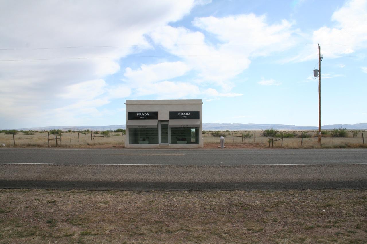 prada nylon and leather tote - fake prada store (sculpture) in middle of the desert // prada ...
