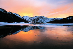Fire & Ice (jurvetson) Tags: sunset lake snow ice topf25 reflections fire frozen squawvalley 500plus20 supershot superaplus aplusphoto squawcreekresort firsttheearth photocontesttnc08