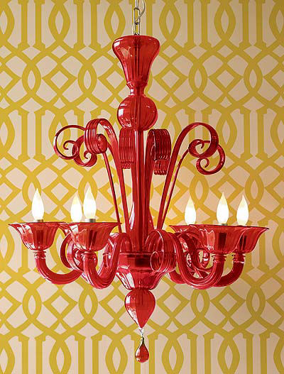 Red Murano Glass Chandelier