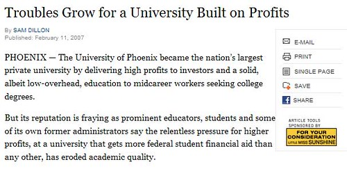 Troubles at University Of Phoenix