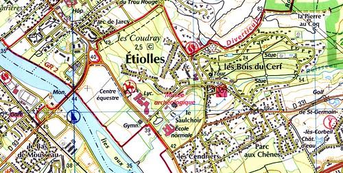 Etiolles, carte ign 25000 Gp impression