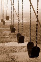 No Recess Today. (BamaWester) Tags: park wet topf25 rain playground fog sepia puddle outside outdoors huntsville alabama foggy swingset bamawester montesanostatepark napg norecesstoday