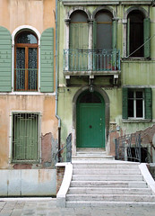 Stairway to the Green House (Donna Corless - PhotosAndArt.com) Tags: door travel venice italy art architecture photography europe italia fuji photos fineart steps finepix s7000 venezia fineartphotography veniceitaly travelphotography donnacorless