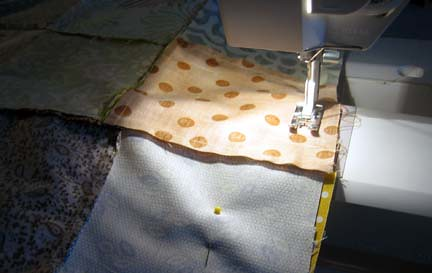 Sewing the bigger squares together