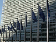 European Flags in front of the Berlaymont - Li...