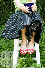 teatime (Jeanette LeBlanc) Tags: blue red green leaves garden tea navy polkadots crop teacup polkadotshoes