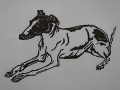 'Italian greyhound - linoleum block print' - Nydam on Flickr