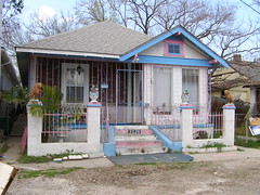 Baby Colors (Karen Gadbois) Tags: pink blue architecture altered paint neworleans cage historic lions vernacular bungalow shotgunhouse northwestcarrollton noahsurvey