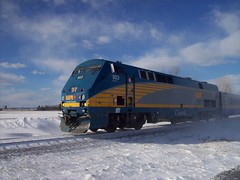 A Via Rail General Electric P42 Genesis diesel locomotive... (Steve Brandon) Tags: railroad winter snow ontario canada station geotagged diesel hiver ottawa railway trains locomotive viarail neige nepean genesis lrc barrhaven fallowfield generalelectric bombardier carriages 903    p42  generalelectricgenesis p42genesis generalelectricp42genesis genesislocomotive bombardierlrc