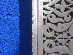 Marrakechi Ornings (Head Honcho at IT'S LIKE THIS) Tags: blue shadow sunlight white face wall daylight paint decorative morocco marrakech botanicalgardens myth ornings
