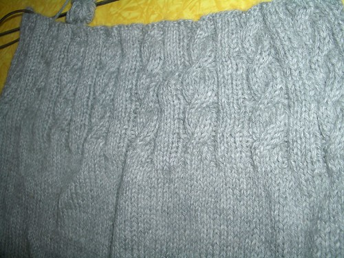Audrey's cabled ribbing on back