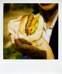 lunch (gochie*) Tags: japan polaroid sx70 land osaka sonar 2007 autofocus yokojihamburger