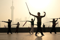 Spirit Warrior 5 (lifemage) Tags: china morning travel light sun shanghai spirit chinese tai chi sword warrior   rise bund enoch puxi lifemage 400d