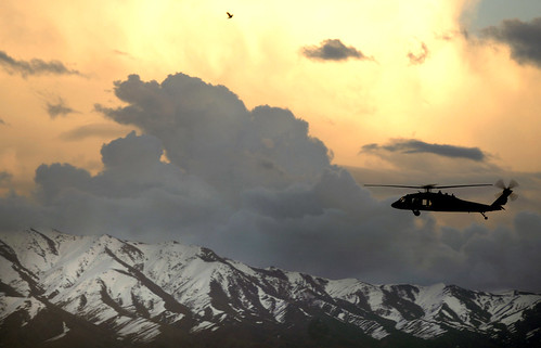 A UH-60 Black Hawk helicopter flies near Bagram Airfield, Afghanistan, March 22, 2007. (U.S. Air Force photo by Tech. Sgt. Cecilio M. Ricardo Jr.) www.army.mil, From ImagesAttr
