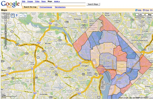 DC Taxi Zone Google Map