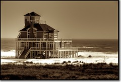 Not Quite Wuthering Heights (sunsurfr) Tags: house building beach monochrome sepia architecture photoshop truck nikon waves gulf dunes alabama d200 hdr gulfshores peopleschoice fortmorgan photomatix ftmorgan tonemapping abigfave specobject superaplus aplusphoto sunsurfr