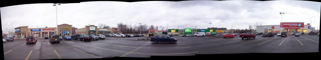 Autostitch panorama of a new strip mall...