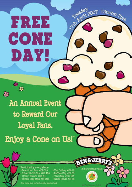 BEN AND JERRY FREE CONE DAY!