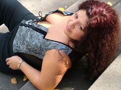 Margaret on Stairs in Park Blocks (Goob62) Tags: oregon portland margaret tease