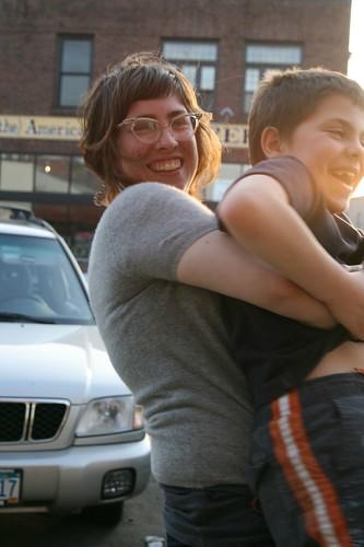 happy hugging
