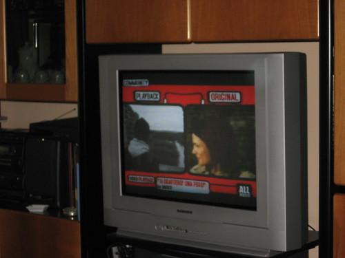 un frame che mette a confronto il nostro video con l'originale. nella foto Laura Chiatti che osserva il Pario.