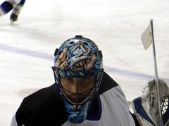 Marc Denis (Sonny Side Up!) Tags: ice hockey tampa bay goalie colorado helmet center marc pepsi lightning warmup denis pregame avalanche sonnysideup