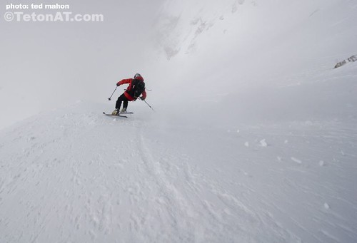 Chris Davenport skis into the abyss on the Grand Teton