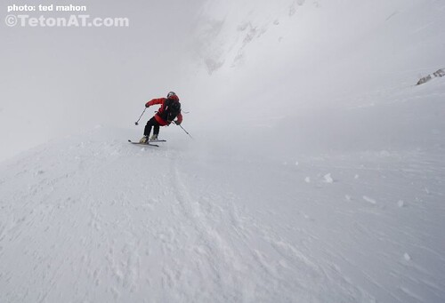 Chris Davenport skis into the abyss on the Grand Teton