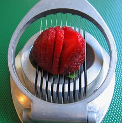Strawberry in an egg slicer