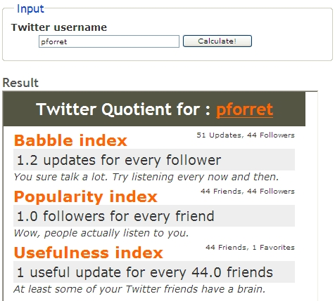 Twitter Quotient for : pforret