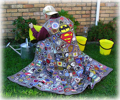 "ROB JAN'S ""FANTASTIQUE: BADGE CLOAK #1 COSTUME PICTURE #92 ""THIS LOOKS LIKE A JOB FOR RECYCLEMAN !!"" (zero g) Tags: sf costumes catchycolors cosplay awesome australia melbourne victoria rob badge scifi klingon robjan cloak wearableart sciencefiction accessories popculture eclectic coll"