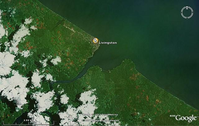 Satellietfoto van Livingston, Guatemala