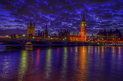 Parliament & Westminster Bridge at night (cmfgu) Tags: london england unitedkingdom uk greatbritain europe housesofparliament palaceofwestminster bigben westminsterbridge riverthames night twilight evening hdr highdynamicrange