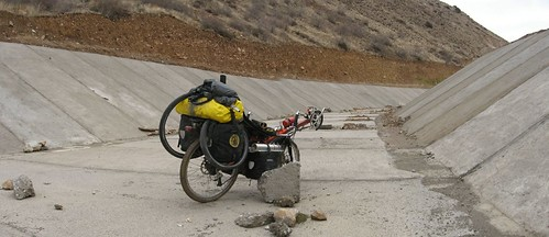 Cycling a half finished canal near Susheri, Turkey