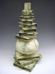 Information Age (sfclay) Tags: sculpture ceramic globe social books clay age information
