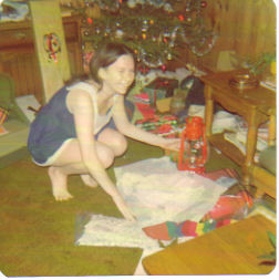 Me at Christmas 1974, getting camping equipment
