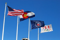 United States, Colorado, United States Olympic Committee, United States Olympic Team Flags and Cauldron.
