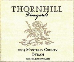 2003 Thornhill Vineyards Syrah Label
