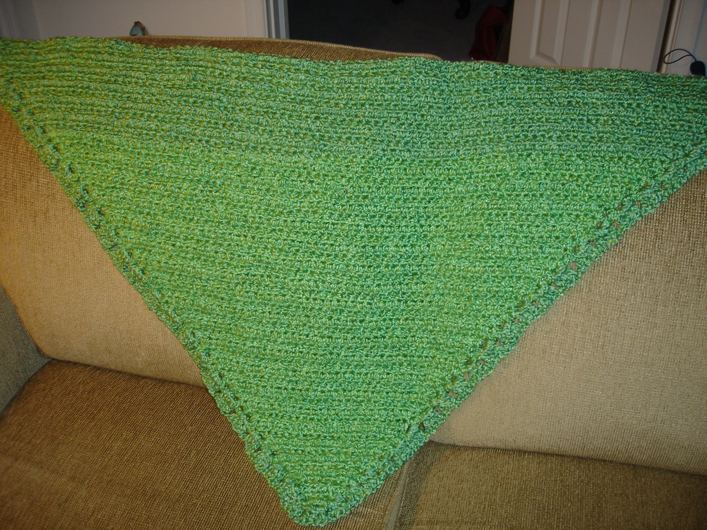 Double Crochet Triangle Shawl Pattern : On Hooks & Needles: Finished! Easy Triangle Shawl in Green