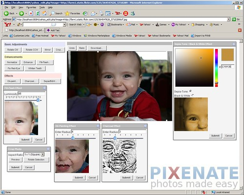 An early prototype of a forthcoming Pixenate theme that uses Yahoo's UI Library