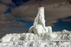 ice coated beacon (snapstill studio) Tags: snow ice michigan lakemichigan beacon breakwater petoskey littletraversebay martinmcreynolds