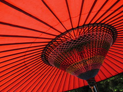 Red Umbrella (jasonkrw) Tags: red fall festival japan umbrella shrine religion hiroshima shinto ogaki  nearmyhouse etajima