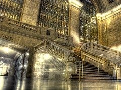 Grand Central Station staircase (spudart) Tags: city nyc newyorkcity light urban newyork color building beautiful architecture night stairs train photo cool nikon downtown pretty manhattan dramatic architectural photograph staircase trainstation grandcentralstation incredible hdr centralstation d80 impressedbeauty foursquare:venue=18974