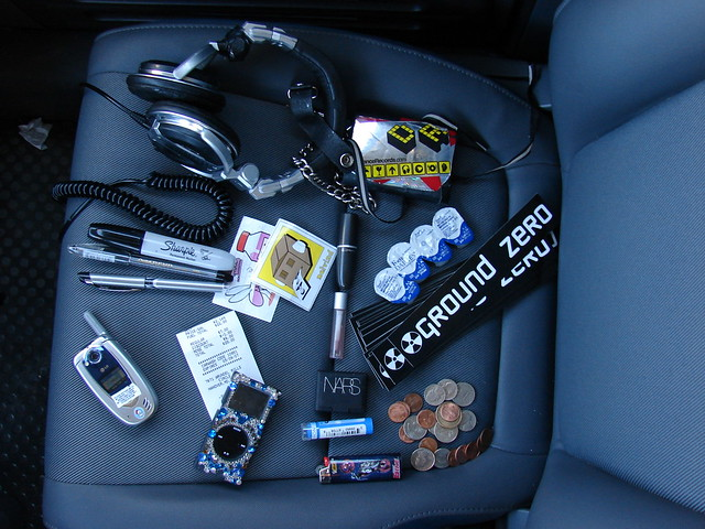 what's in my bag cause I'm bored in line at the carwash